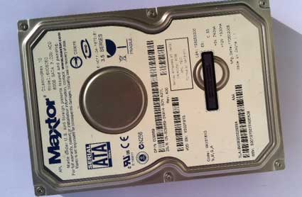 Before photo of computer hard drive